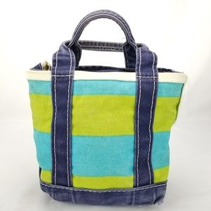 LL Bean Boat and Tote Small Green Blue Stripe Canv